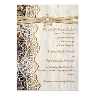 Boda blanco del cordón, de la cinta, de la flor y invitacion personal