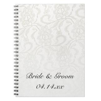 Boda blanco del cordón note book