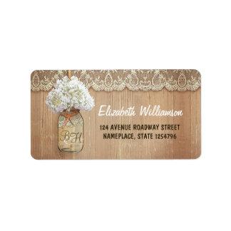 boda blanco del hydrangea del tarro de albañil etiquetas de dirección