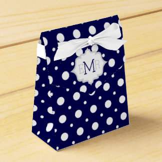 Boda blanco del monograma del modelo de lunar de caja para regalo de boda