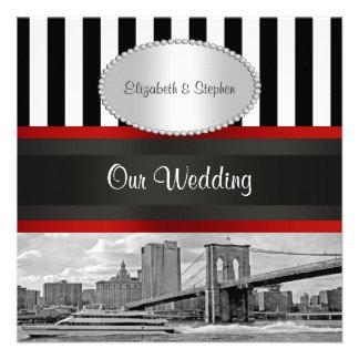 Boda blanco del negro P del puente de Brooklyn del Invitaciones Personales
