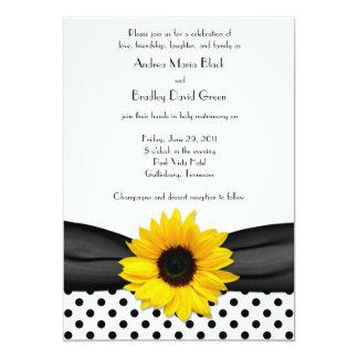 Boda blanco negro de la cinta del lunar del invitaciones personalizada