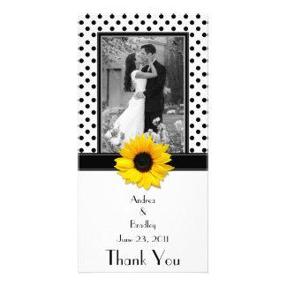 Boda blanco negro del girasol del lunar tarjeta personal con foto