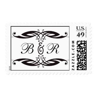 Boda blanco negro del monograma del art déco franqueo