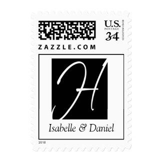 Boda blanco negro elegante del monograma H de la Sello Postal