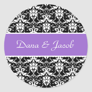 Boda blanco negro púrpura del damasco que casa V16 Pegatina Redonda