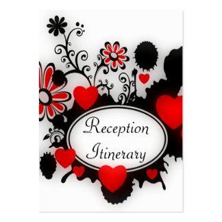 Boda blanco negro rojo de Splats de la flor de los Tarjetas De Visita Grandes