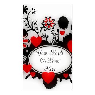Boda blanco negro rojo de Splats de la flor de los Tarjetas De Visita