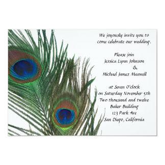 Boda blanco precioso del pavo real invitación 12,7 x 17,8 cm