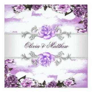 """Boda blanco púrpura de la nube de la lavanda invitación 5.25"""" x 5.25"""""""