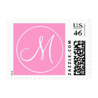 Boda blanco rosado de la inicial M del monograma