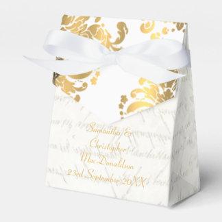 Boda blanco tradicional del damasco del oro del cajas para detalles de boda