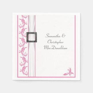 Boda blanco tradicional pálido del cordón del rosa servilletas de papel
