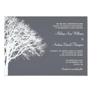 Boda blanco y gris del roble del invierno invitacion personalizada