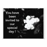 boda blanco y negro de la flor invitaciones personalizada