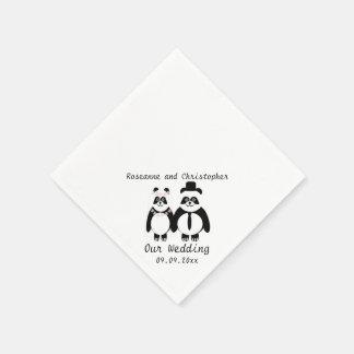 Boda blanco y negro de la panda servilleta desechable