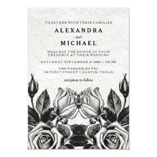 """Boda blanco y negro de los rosas nerviosos del invitación 5"""" x 7"""""""