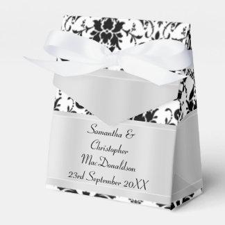 Boda blanco y negro del damasco caja para regalos de fiestas