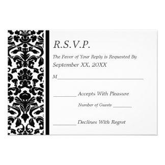 Boda blanco y negro del damasco de RSVP Invitación Personalizada
