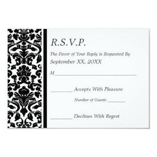 """Boda blanco y negro del damasco de RSVP Invitación 3.5"""" X 5"""""""