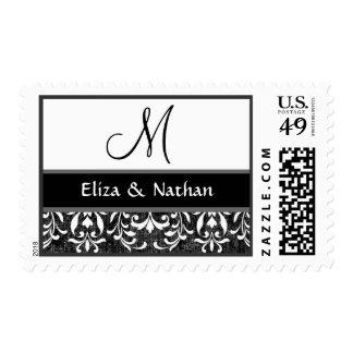 Boda blanco y negro del monograma del damasco del sello postal