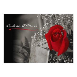 """Boda blanco y negro elegante del rosa rojo invitación 3.5"""" x 5"""""""