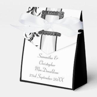 Boda blanco y negro llano del cordón del damasco cajas para regalos de boda