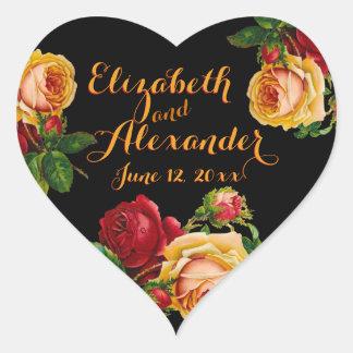 Boda bohemio romántico de los rosas del vintage pegatina en forma de corazón