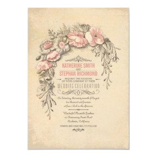 """Boda botánico floral del vintage invitación 5"""" x 7"""""""