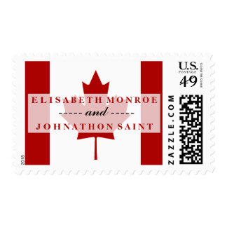 Boda canadiense de la bandera timbre postal
