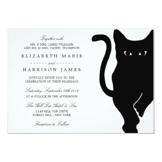 "Boda caprichoso moderno del gato negro invitación 5"" x 7"""