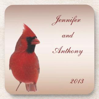 Boda cardinal posavasos de bebida