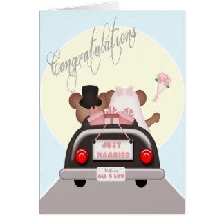Boda casado apenas del ratón de novia y del novio tarjeta de felicitación