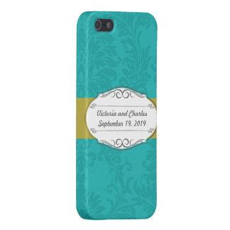 Boda chartreuse del damasco de la turquesa moderna iPhone 5 funda