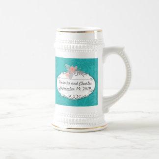 Boda chartreuse del damasco de la turquesa moderna jarra de cerveza