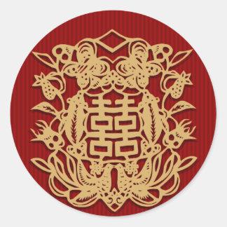 Boda chino con los pegatinas dobles de la pegatina redonda