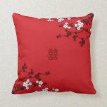 Boda chino de la felicidad doble de las flores de  cojin