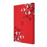 Boda chino de la felicidad doble de las flores de  impresiones de lienzo