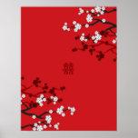 Boda chino de la felicidad doble de las flores de  posters