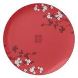 Boda chino de la felicidad doble de las flores de  platos de comidas