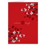 Boda chino de la felicidad doble de las flores de tarjeta de felicitación