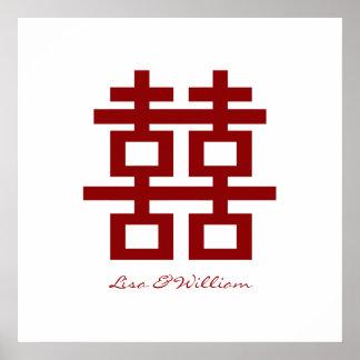 Boda chino de la felicidad doble minimalista póster