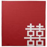 Boda chino de la felicidad doble minimalista servilleta imprimida