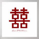 Boda chino de la felicidad doble minimalista simpl impresiones