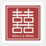 Boda chino de la felicidad doble calcomania cuadradas personalizada