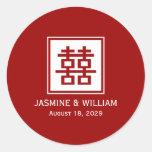 Boda chino del logotipo de la felicidad cuadrada pegatinas redondas