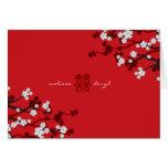 Boda chino elegante de las flores de cerezo blanca tarjeta