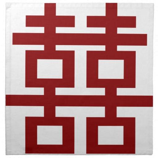 Boda chino elegante del símbolo doble rojo de la servilletas imprimidas