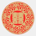 Boda chino - felicidad doble pegatinas redondas