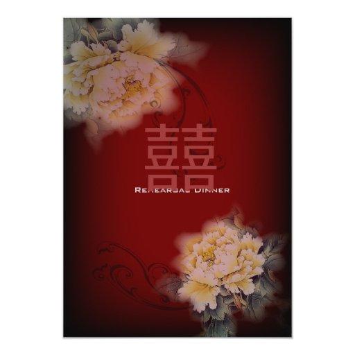 boda chino floral del peony de Borgoña del vintage Invitación 12,7 X 17,8 Cm
